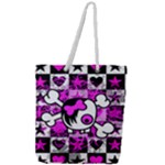 Emo Scene Girl Skull Full Print Rope Handle Tote (Large)