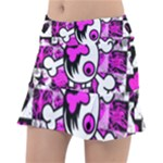 Emo Scene Girl Skull Tennis Skirt
