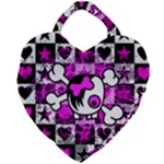 Emo Scene Girl Skull Giant Heart Shaped Tote