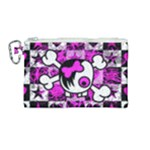 Emo Scene Girl Skull Canvas Cosmetic Bag (Medium)
