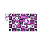 Emo Scene Girl Skull Canvas Cosmetic Bag (Small)