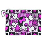 Emo Scene Girl Skull Canvas Cosmetic Bag (XL)