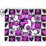 Emo Scene Girl Skull Canvas Cosmetic Bag (XXXL)