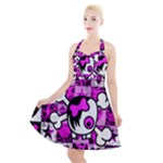 Emo Scene Girl Skull Halter Party Swing Dress