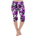Emo Scene Girl Skull Lightweight Velour Cropped Yoga Leggings
