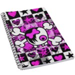 Emo Scene Girl Skull 5.5  x 8.5  Notebook
