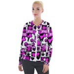 Emo Scene Girl Skull Velour Zip Up Jacket