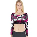 Girly Skull & Crossbones Long Sleeve Crop Top