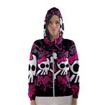 Girly Skull & Crossbones Women s Hooded Windbreaker
