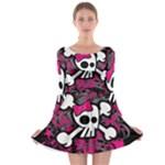 Girly Skull & Crossbones Long Sleeve Skater Dress