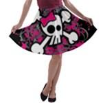 Girly Skull & Crossbones A-line Skater Skirt