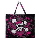 Girly Skull & Crossbones Zipper Large Tote Bag