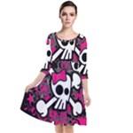 Girly Skull & Crossbones Quarter Sleeve Waist Band Dress
