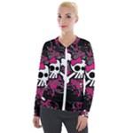 Girly Skull & Crossbones Velour Zip Up Jacket