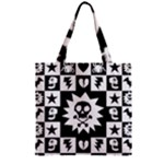 Gothic Punk Skull Zipper Grocery Tote Bag