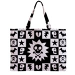 Gothic Punk Skull Zipper Mini Tote Bag