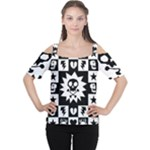Gothic Punk Skull Cutout Shoulder Tee