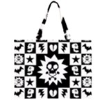 Gothic Punk Skull Zipper Large Tote Bag