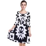 Gothic Punk Skull Quarter Sleeve Waist Band Dress
