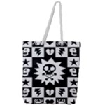 Gothic Punk Skull Full Print Rope Handle Tote (Large)