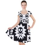 Gothic Punk Skull Cap Sleeve Midi Dress