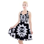 Gothic Punk Skull Halter Party Swing Dress