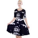 Morbid Skull Quarter Sleeve A-Line Dress