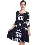 Morbid Skull Quarter Sleeve Waist Band Dress