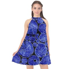 Neon Abstract Cobalt Blue Wood Halter Neckline Chiffon Dress