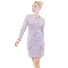 Blank Color Button Long Sleeve Dress