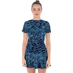 Neon Abstract Surface Texture Blue Drop Hem Mini Chiffon Dress