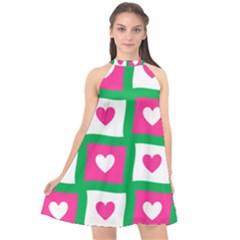 Pink Love Valentine Halter Neckline Chiffon Dress  by Mariart