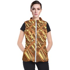 Gold Background Form Color Women s Puffer Vest by Alisyart