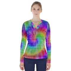 Watercolor Painted V Neck Long Sleeve Top