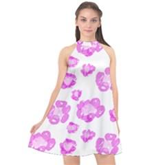 Pink Flower Halter Neckline Chiffon Dress  by scharamo