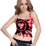 Love Heart Splatter Spaghetti Strap Bra Top