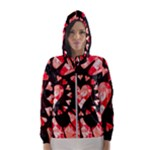 Love Heart Splatter Women s Hooded Windbreaker