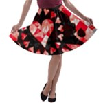 Love Heart Splatter A-line Skater Skirt