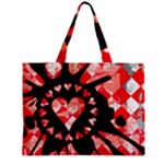 Love Heart Splatter Zipper Medium Tote Bag