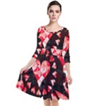 Love Heart Splatter Quarter Sleeve Waist Band Dress