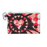 Love Heart Splatter Canvas Cosmetic Bag (Medium)