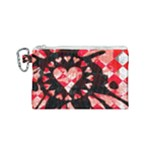 Love Heart Splatter Canvas Cosmetic Bag (Small)