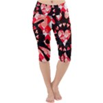 Love Heart Splatter Lightweight Velour Cropped Yoga Leggings
