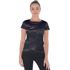 Landscape Planet Sky Lake Short Sleeve Sports Top  by Simbadda