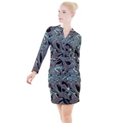Gears Machine Machines Button Long Sleeve Dress
