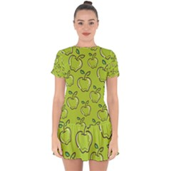 Fruit Apple Green Drop Hem Mini Chiffon Dress by HermanTelo