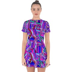 Stars Beveled 3d Abstract Drop Hem Mini Chiffon Dress
