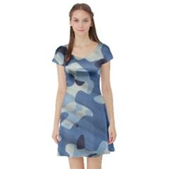 Tarn Blue Pattern Camouflage Short Sleeve Skater Dress