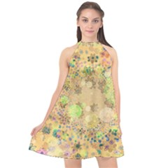 Flowers Color Colorful Watercolour Halter Neckline Chiffon Dress  by Simbadda