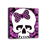 Pink Polka Dot Bow Skull Mini Canvas 4  x 4  (Stretched)